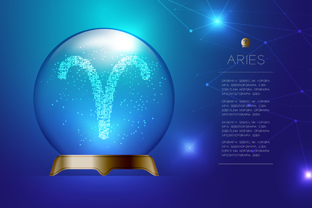 Aries Zodiac sign in Magic glass ball, Fortune teller concept design illustration on blue gradient background with copy space, vector Illustration