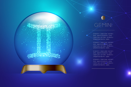 Gemini Zodiac sign in Magic glass ball, Fortune teller concept design illustration on blue gradient background with copy space, vector Illustration