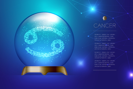 Cancer Zodiac sign in Magic glass ball, Fortune teller concept design illustration on blue gradient background with copy space, vector