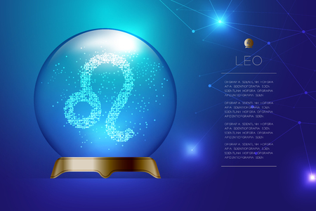 Leo Zodiac sign in Magic glass ball, Fortune teller concept design illustration on blue gradient background with copy space, vector