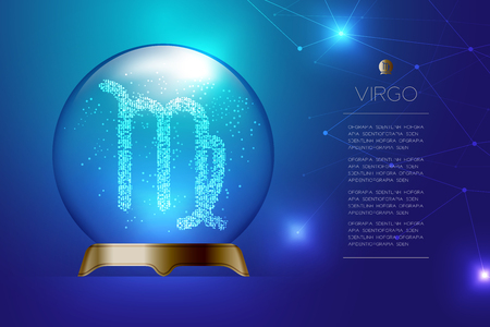 Virgo Zodiac sign in Magic glass ball, Fortune teller concept design illustration on blue gradient background with copy space, vector