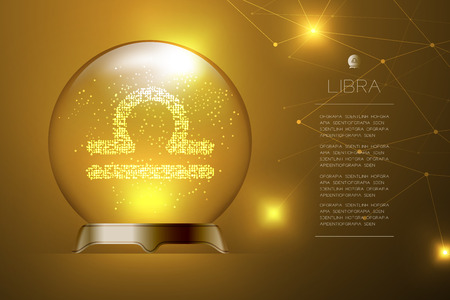 Libra Zodiac sign in Magic glass ball, Fortune teller concept design illustration on gold gradient background with copy space, vector