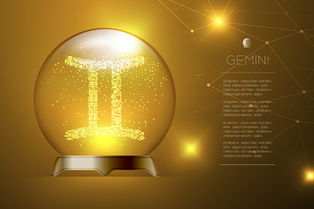 Gemini Zodiac sign in Magic glass ball, Fortune teller concept design illustration on gold gradient background with copy space, vector