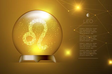 Segno zodiacale Leone nella sfera di vetro magica, illustrazione di disegno di concetto di cassiere di fortuna su sfondo sfumato oro con spazio di copia, vettore