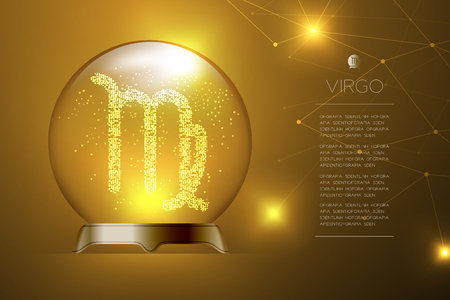 Virgo Zodiac sign in Magic glass ball, Fortune teller concept design illustration on gold gradient background with copy space, vector Illustration