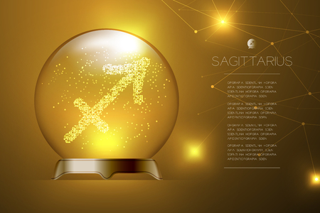Sagittarius Zodiac sign in Magic glass ball, Fortune teller concept design illustration on gold gradient background with copy space, vector