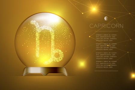 Signo del zodíaco Capricornio en bola de cristal mágica, Ilustración de diseño de concepto de adivino sobre fondo degradado de oro con espacio de copia, vector