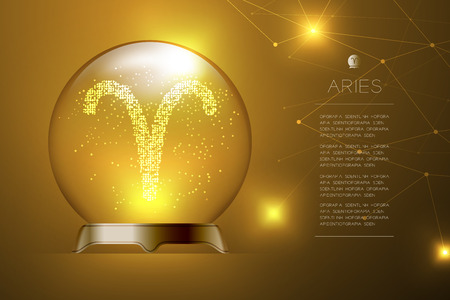 Aries Zodiac sign in Magic glass ball, Fortune teller concept design illustration on gold gradient background with copy space, vector