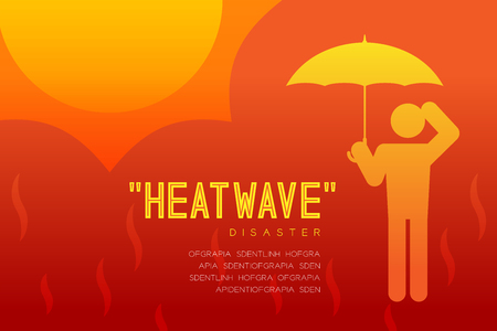 Heatwave Disaster of man icon pictogram with umbrella design infographic illustration isolated on orange red gradient background, with copy space