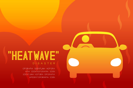 Heatwave Disaster of man icon pictogram with car design infographic illustration isolated on orange red gradient background, with copy space Vektorgrafik