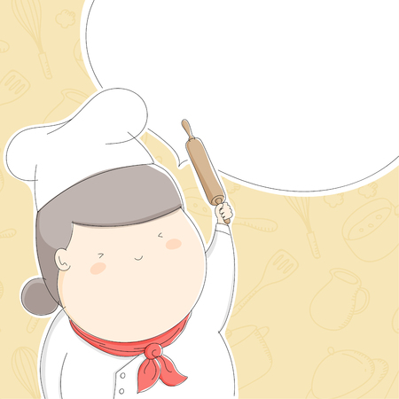Fat chef woman character happy with rolling pin, Lifestyle concept design illustration isolated on kitchen accessories pattern yellow pastel color background with speech bubble copy space, vector eps 10