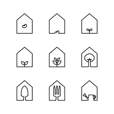 Garden tool and plant icon set in House frame black and white color isolated on white background