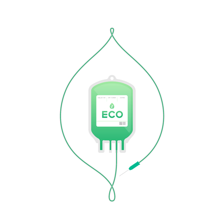 Blood bag green color with Leaf sign frame shape made from cord illustration, eco concept flat design isolated on white background, with copy space