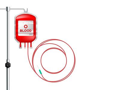 Blood bag type O red color and Alphabet letter O sign shape made from cord illustration, transfusion concept design isolated on white background, with copy space Ilustração