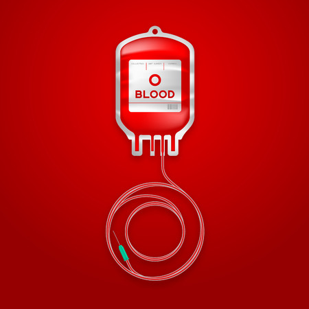Blood bag type O red color and Alphabet letter O sign shape made from cord illustration, transfusion concept design isolated on red gradient background, with copy space