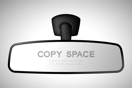 Maqueta de espejo retrovisor interior de coche ilustración color negro aislado sobre fondo degradado, con espacio de copia