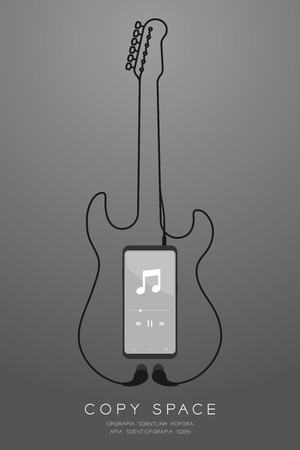 Smartphone black color and Earphones in ear type flat design, electric guitar shape made from cable illustration isolated on grey gradient background, with copy space Stock Illustratie