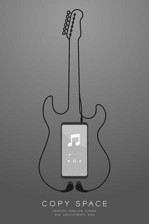 Smartphone schwarze Farbe und Kopfhörer im flachen Design des Ohrtyps, E-Gitarrenform aus Kabelillustration einzeln auf grauem Hintergrund mit Farbverlauf, mit Kopierraum copy