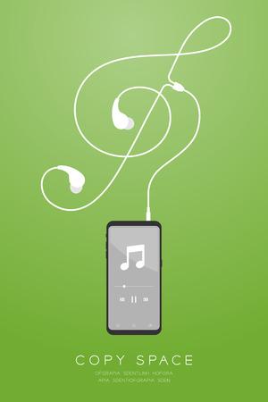 Couleur noire du smartphone et écouteurs dans un design plat de type oreille, forme de clé de sol faite à partir d'une illustration de câble isolée sur fond dégradé vert, avec espace de copie