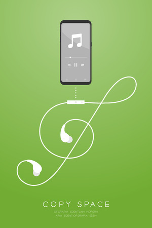 Smartphone black color and Earphones wireless and remote, In Ear type flat design, Treble Clef shape made from cable illustration isolated on green gradient background, with copy space