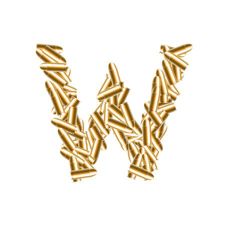Alphabet bullet set letter W gold color, illustration 3D virtual design isolated on white background