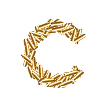 Alphabet bullet set letter C gold color, illustration 3D virtual design isolated on white background