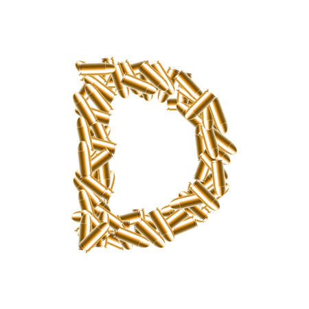 Alphabet bullet set letter D gold color, illustration 3D virtual design isolated on white background