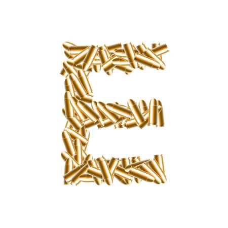 Alphabet bullet set letter E gold color, illustration 3D virtual design isolated on white background