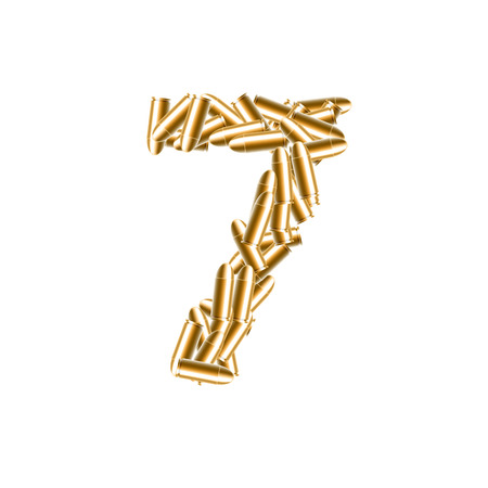 The letter number seven or 7 gold color, in the alphabet bullet set, illustration 3D virtual design isolated on white background