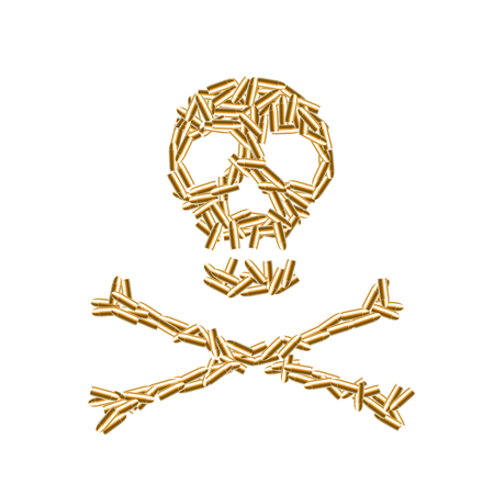 Alphabet symbol bullet set Skull and crossbones sign gold color, illustration 3D virtual design isolated on white background Illustration