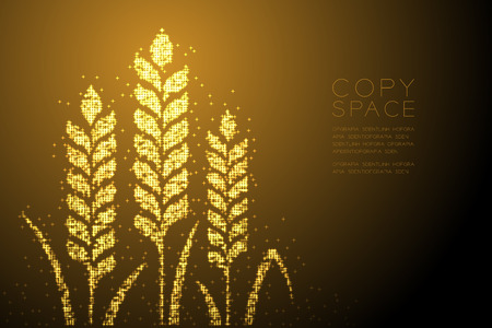 Abstract Shiny Bokeh star pattern Wheat shape, Bakery concept design gold color illustration isolated on brown gradient background with copy space, vector eps 10