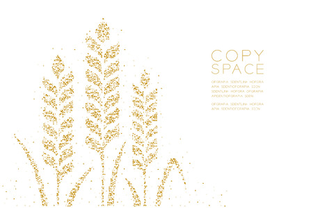 Abstract Geometric Low polygon square box pixel and Triangle pattern Wheat shape, Bakery concept design gold color illustration on white background with copy space, vector Illustration
