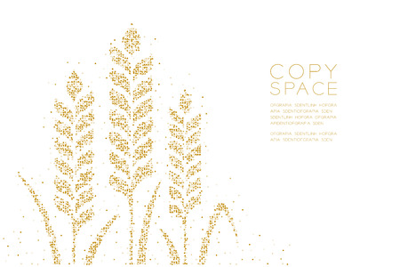 Abstract Geometric Circle dot pixel pattern Wheat shape, Bakery concept design gold color illustration on white background with copy space, vector eps10