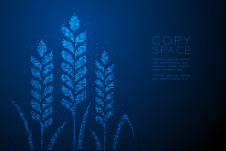 Abstract Geometric Bokeh circle dot pixel Wheat shape, Bakery concept design blue color illustration isolated on blue gradient background with copy space, vector Ilustrace