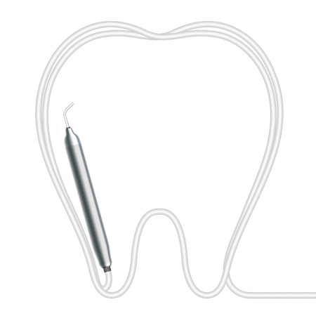 Dental handpieces instrument and tooth shape frame made from cable, illustration 3D virtual design isolated on white background, with copy space