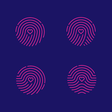 Fingerprint scan icon set with Love Heart symbol dash line design illustration blue and green isolated on dark blue background with Fingerprint text and copy space, vector eps10