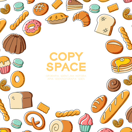 Bakery kids hand drawing set pattern background illustration colorful isolated on white color background, with center copy space circle shape