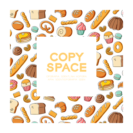 Bakery kids hand drawing set pattern background in square frame illustration colorful isolated on white color background, with center copy space