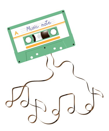 Compact audio cassette green color and Music note shape made from analog magnetic audio tape illustration on white background, with copy space