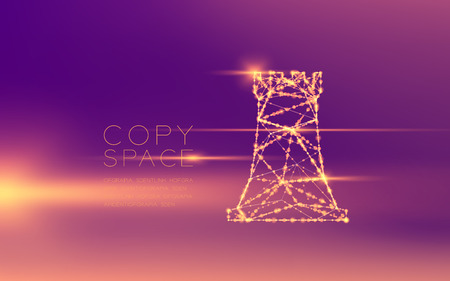 Chess Rook wireframe polygon futuristic bokeh light frame structure and lens flare, Business strategy concept design illustration isolated on purple gradient background with copy space