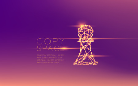Chess Pawn wireframe polygon futuristic bokeh light frame structure and lens flare, Business strategy concept design illustration isolated on purple gradient background with copy space
