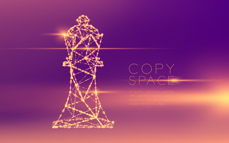 Chess King wireframe polygon futuristic bokeh light frame structure and lens flare, Business strategy concept design illustration isolated on purple gradient background with copy space