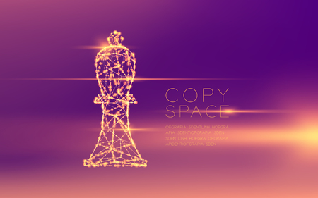 Chess Bishop wireframe polygon futuristic bokeh light frame structure and lens flare, Business strategy concept design illustration isolated on purple gradient background with copy space