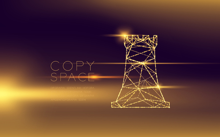 Chess Rook wireframe polygon futuristic bokeh light frame structure and lens flare, Business strategy concept design illustration isolated on dark gradient background with copy space