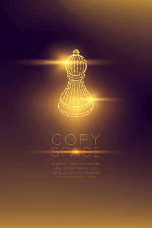 Chess Pawn isometric wireframe polygon futuristic bokeh light frame structure and lens flare, Business strategy concept design illustration isolated on dark gradient background with copy space