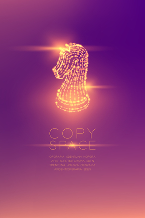Chess Knight isometric wireframe polygon futuristic bokeh light frame structure and lens flare, Business strategy concept design illustration isolated on purple gradient background with copy space