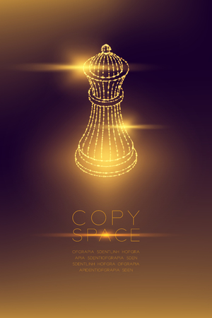 Chess King isometric wireframe polygon futuristic bokeh light frame structure and lens flare, Business strategy concept design illustration isolated on dark gradient background with copy space
