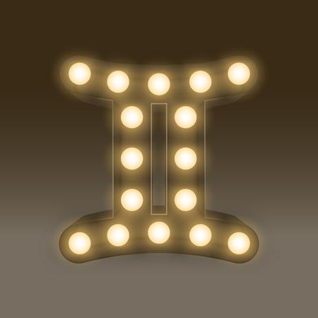 Gemini Zodiac sign Incandescent light bulb box, illustration retro 3D style isolated glow in dark background Vectores