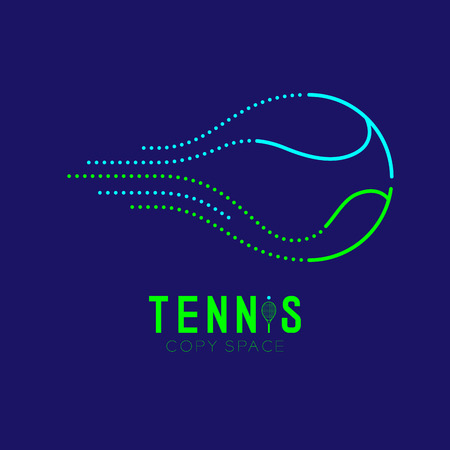 Tennis ball logo icon outline stroke set dash line design illustration isolated on dark blue background with Tennis text and copy space Illustration