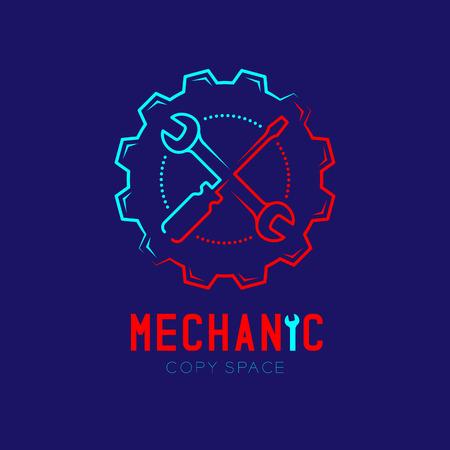 Icône du logo mécanicien, clé et tournevis dans le contour du cadre d'engrenage course de contour définie illustration de conception de ligne de tiret isolée sur fond bleu foncé avec texte de mécanicien et espace de copie